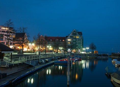 Friedrichshafen, Lake Constance, Blue Hour, Lights
