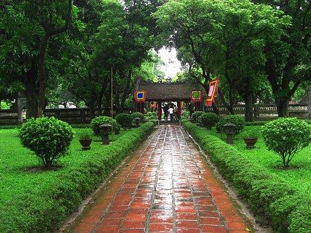 Vietnam, Garden, Sidewalk, Stone, Trees, Plants, Grass