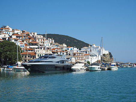 City, Greece, Port, Sea, Summer, The Old Town, Yacht