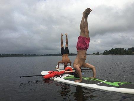 Yoga, Paddleboard, Paddleboarding, Headstand, Paddle