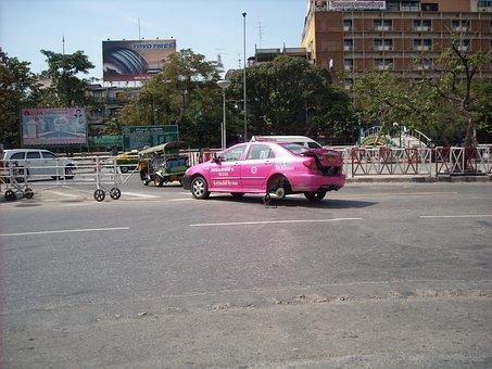 Asia, Thailand, Bangkok, Taxi, Chaos, Road, Junction
