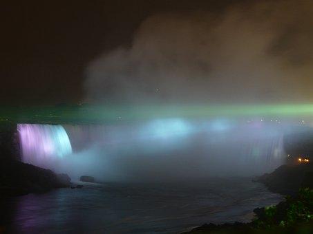 Niagara Falls, Niagara, Water, Waterfall, Night