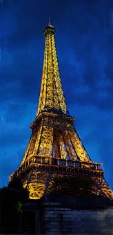 Eiffel Tower, Paris, France, Dusk, Lighted, Landmark