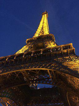 Paris, Foreign Countries, Eiffel Tower, Night, Light Up