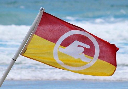 Flag, Risk, Bad Ban, Lifeguard On Duty, Wave, Sea