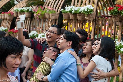 Selfie, People, Asian, Flowers, Street, Vietnam, Saigon