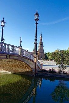 Plaza De Espania, Bridge, Palace, Seville, Historic