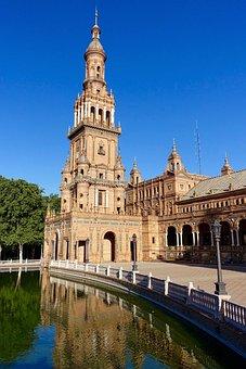 Plaza De Espania, Channel, Church, Seville, Steeple
