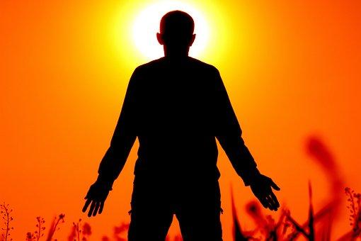 Silhouette, Blur, Red, Focus, Sun, Space, Outdoor