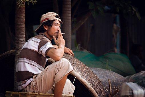 Fisherman, Smoking, Asia, Fishing, Man, Boat, River