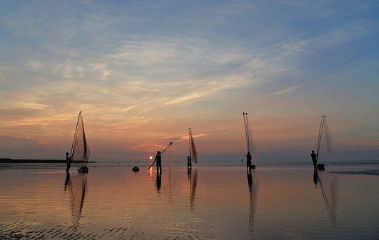 Vietnam, Baclieu, Coast, Sunset, The Network Of