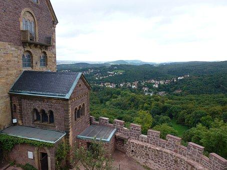 Outlook, Landscape, Thuringia Germany, Wartburg Castle