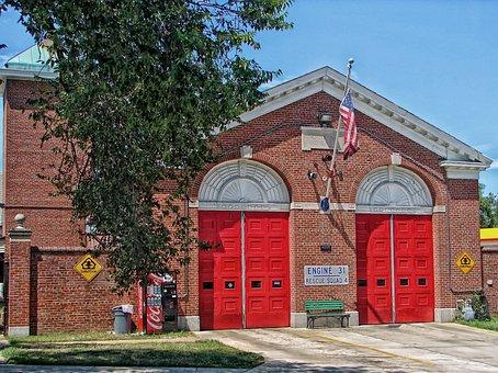 Washington, American Flag, Firehouse, Fire Station