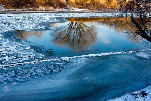 Water, Winter, Nature, River, Ice, Outdoors, Blue
