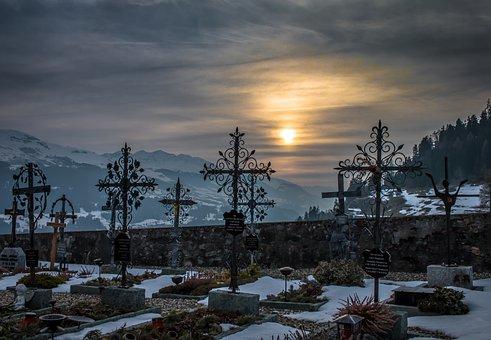 Cemetery, Sunset, Snow, Mountains, Winter, Graveyard