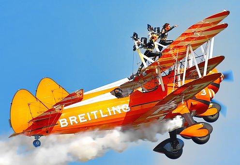 Bi-plane, Aerial, Aerobatics, Aeroplane, Air, Airbourne
