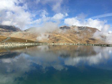 Lake, Bergsee, Nature, Alpine, Mirroring, Clouds, Sky
