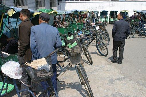 Bicycle Rickshaw, China, Bicycle Taxi Station