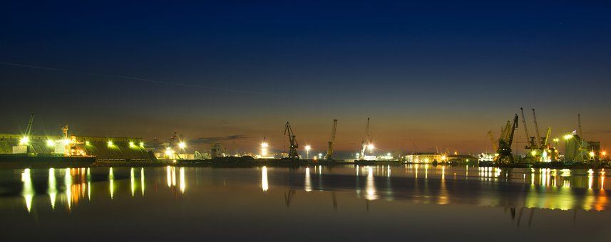 Port Burgas, Port, Night, Sea, Bulgaria, Burgas, Coast
