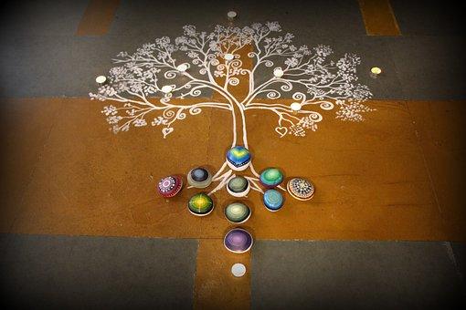 Rangoli, Stones, Mandala, Design, Pattern, Motif