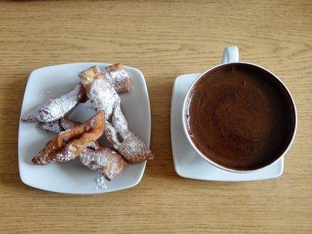 Coffee, Faworki, Fat Thursday, Eating, Dessert, Food