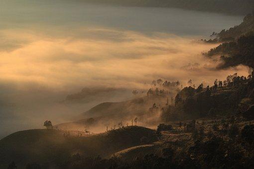 Morning, Dawn, Fog, Mountain, Mist, Hills, Light