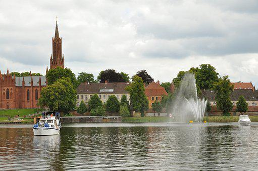 Fountain, Malchow, City, Lake Klosterkirche, Water