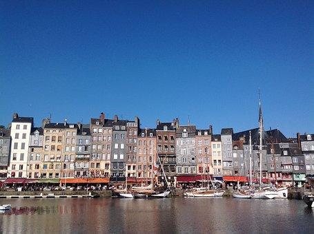 Honfleur, France, Marina, Boat, Townhouse, Blue, Sky