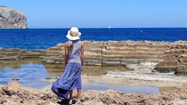 Human, Girl, Summer, Sea, Blue, Stone Look See, Nature