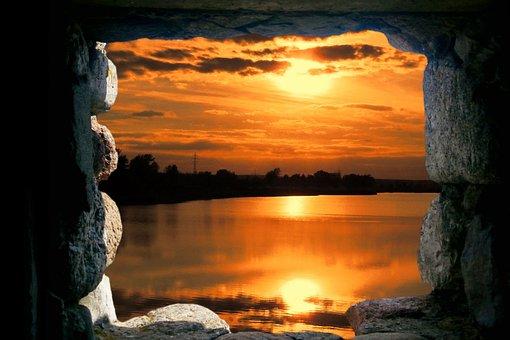Landscape, Cave, Window, Sunset, Photo Montage