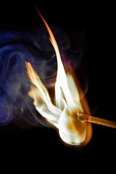 Match, Ignition, Flame, Burn, Smoke, Close, Match Head