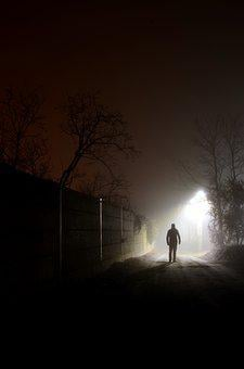 At Night, Foreign, Light, Fog, Fearful, Mood