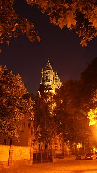 Autumn, Night, Church, The Cathedral, Poland, Foliage