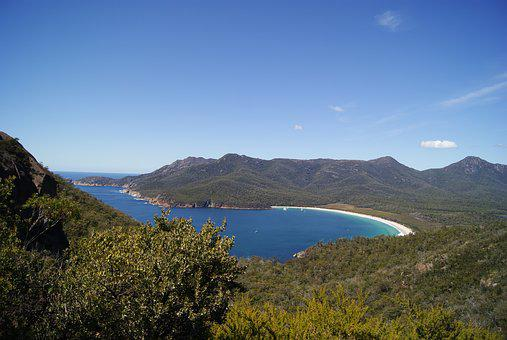 Sea, Bay, Beach, Mountain, Wineglass Bay, Nature