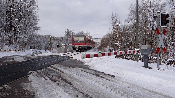 Winter, Railway, Semi-barrier, Vt 628 Units