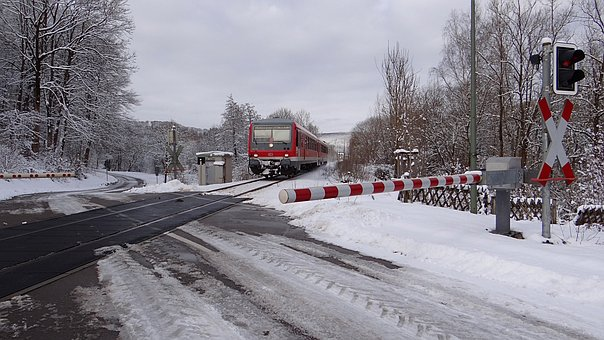 Winter, Railway, Semi-barrier, Vt 628 Units