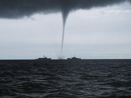 Tornado, Whirlwind, The Baltic Sea, Warship, Storm