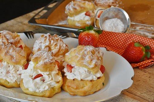 Cream Puff, Strawberries, Cream, Whipped Cream