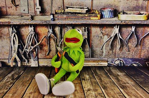 Kermit, Workshop, Pliers, Frog, Work Funny