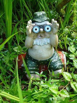 Gnome, Garden, Binoculars, Man, Beer Can, Belly