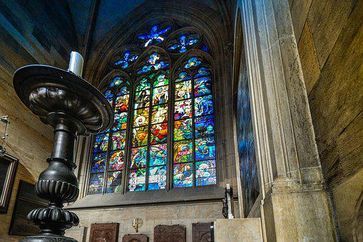 Vitus, Cathedral, Prague, Stained, Stained Glass, Glass