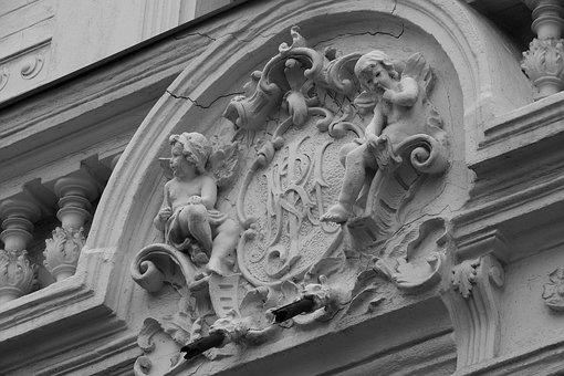 Coat Of Arms, Sign, Facade, Historic House, Detail