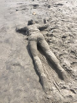 Person With Sand, Face Down On Sand, Figure In The Sand