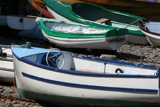 Boats, Clovelly, Harbour, Devon, Village, Rowing