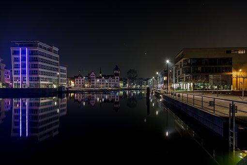 Night, Dortmund, Phoenix Lake, Reflections, Lake, Light