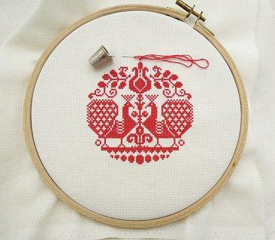 Cross Stitch, Embroidery, Red, Manual Work, Bird, Love