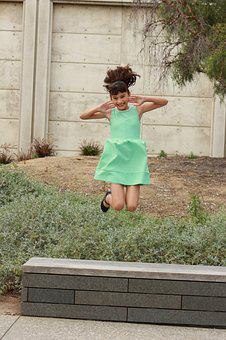 Teen, Pre-adolescent, Child, Smiling, Happy, Jumping