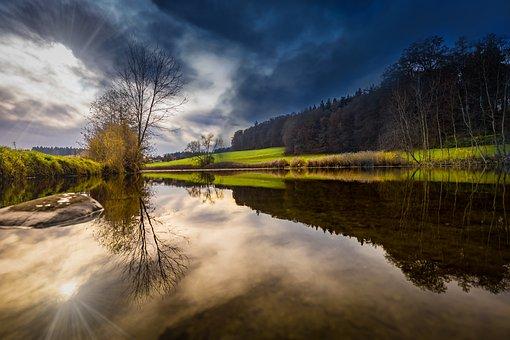 Water, Backlighting, Mirroring, Lake, Sun, Sparkle