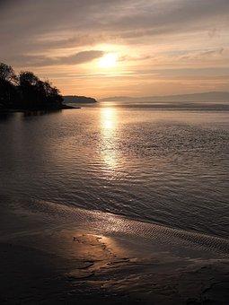 Sunset, Sea, North Sea, Estuary, Shore, Light, Ocean