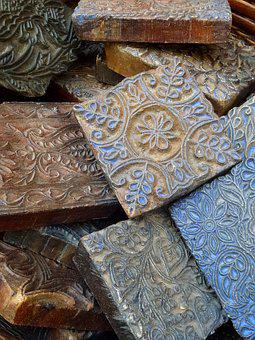 Vintage, Wooden, Stamps, Textile, Old, Wood, Texture